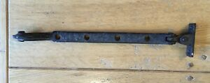 """Old Vintage Black Wrought Iron Scroll End 4 Hole 10.25"""" Long Window Stay Arms"""