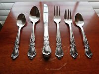ANTIQUE SILVERPLATE FLATWARE 6pc 1847 ROGERS BROTHERS HERITAGE COMPLETE SET!!