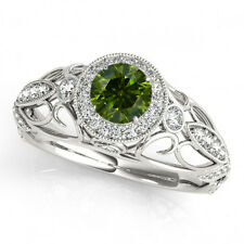 0.65 Ct Fancy Green Diamond SI2 Halo Wedding Ring Stunning 14k White Gold