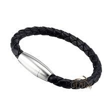 US Men Women GENUINE Black Brown Braided Cuff Wristband Bracelets GMUS045BB