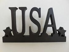 """AT HOME AMERICA"" brand  ""USA""  one-piece wooden-cutout plaque"