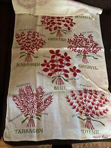 Tammis  Keefe vintage Linen towel- Herbs