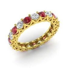 2.64 Carat Diamond Ruby Engagement Eternity Band 14K Solid Yellow Gold Rings