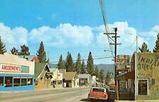 Big Bear Lake California Street Scene Store Fronts Vintage Postcard K50249