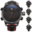 SHARK Luxury Mens LED Digital Date Day Black Leather Sport Quartz Wrist Watch
