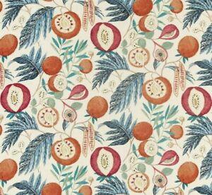 "SANDERSON CURTAIN FABRIC DESIGN ""Jackfruit"" 3 METRES JACKFRUIT INDIGO/RAMBUTAN"
