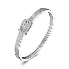 Buckle Belt Diamond Sapphire Silver Gold Filled Women Lady Party Bangle Bracelet