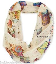 Laurel Burch Karly's Cats Infinity Neck Scarf Multi-Color on Beige New Retired