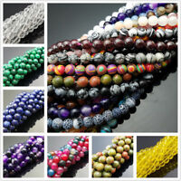"Wholesale Natural Gemstone Smooth Round Loose Beads 15"" 4mm 6mm 8mm 10mm 12mm"