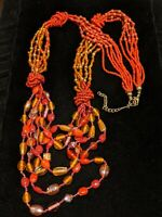 Vintage Tribal Red Orange Glass Bead Multi strand Statement Bib Necklace