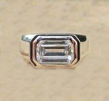 Solitaire Engagement Ring 925 Sterling Silver 2 Ct Emerald Cut Moissanite Mens
