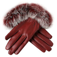 Fashion Women's Winter Gloves Soft Leather Warm Touch Screen Anti-Slip Mittens