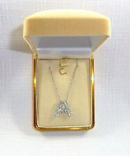 "1.75ct Genuine Light Blue Topaz, Italy 925 Sterling Silver ""A"" Pendant & Chain"