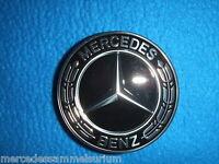 Mercedes Benz Original Satz 4 Radnabenkappen 75mm Lorbeerkranz Schwarz Neu OVP