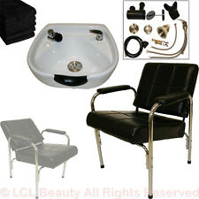 White Ceramic Shampoo Bowl & Classic Chair Vacuum Breaker Barber Salon Equipment
