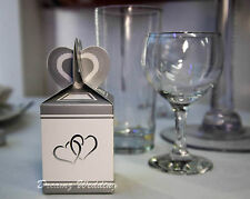 100 Silver+White Wedding Favour Sweet Cake Candy Gift Box Bags Engagement Party