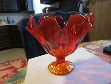 LARGE+Elegant Beautiful Cranberry Cherry Red  Glass Fluted Vase~~AMAZING!!