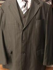 Men Designer Suit Made In Italy 54 LX 49L Gray Pinstripe