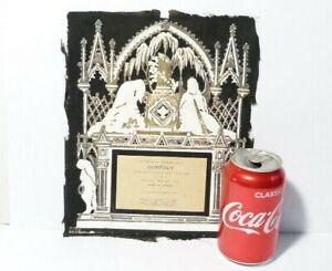 "1895 Godfrey Theakstone Embossed Memoriam Pierced Card 10x8"" Blk White Gold"
