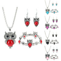 GI- Women Faux Turquoise Owl Pattern Hook Earrings Necklace Bracelet Jewelry Set