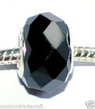 10pcs black crystal glass charm beads fit European snake chain