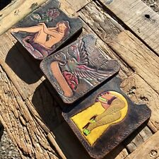 TATTOO Themed Handmade in USA Leather Credit Card Wallet & Money Clip