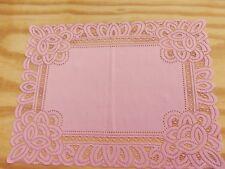 New Pink Lace Battenburg design Table Doily/Placemat 19 x 14 set of 2