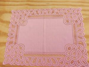 Lace Table Doily/Placemat  Pink Battenburg design  19 x 14 set of 2