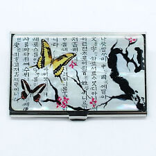 Korean character on mother of pearl business card case Embossed metal case