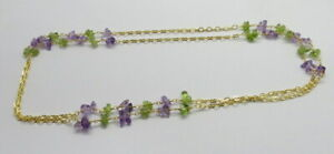 """Amethyst & Peridot Beaded Chain Necklace Gemstone Beads Gold Link Chain 32"""" Long"""