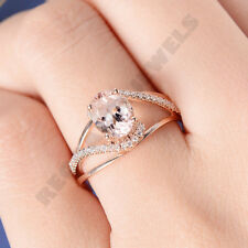 vintage style 14k rose gold Over 3ct oval cut d vvs1 diamond women promise ring