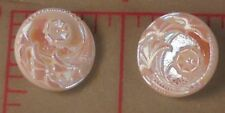"12 Vintage Med Czech Glass Shank Buttons 4 Flower Design White AB 3/4"" 18mm #72"