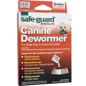 Safe Guard Fenbendazole Canine Dewormer Dogs 1 Gram (3 Packets)