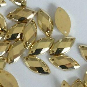 100pcs Horse Eye 7*15mm GOLD Rhinestones Acrylic Strass Gems Flatback Sew On