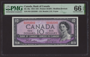 Canada 🇨🇦 1954 - $10 Mod. Portrait Beatie Coyne Sig. - PMG Gem UNC 66 EPQ
