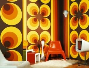 Vintage Retro 70s Big Circle Orange Yellow Brown A S Creation Wallpaper 7013-12