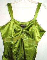 Metrostyle Womens Top Sleeveless Avocado Green sequin trim Plus Size 18