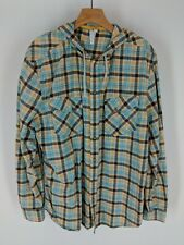 Men's Kirra hooded long-sleeve button-up shirt XL blue yellow white plaid