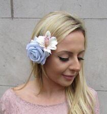 Light Powder Blue Blush Pink Alstroemeria Rose Flower Fascinator Hair Clip 6068