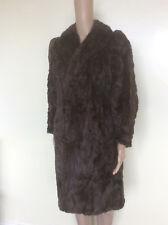 Vintage Handmade Real Fur Coat, 1930s 1940s, Mink? Brown, Long, Size 12 14 16 M