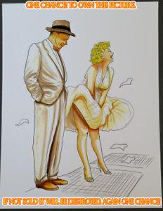 Marilyn Monroe CG Art Drawing Illustration 8.5x11 Signed Glossy Print by Key