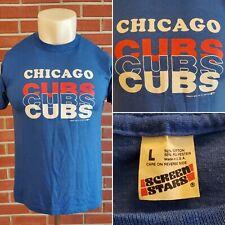 Chicago Cubs Screen Stars 1988 Single Stitch Mens Large Blue Vintage T-Shirt EUC