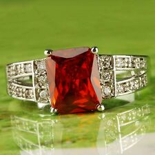 Emerald Cut Ruby Spinel & White Topaz Aaa Gems Silver Ring Size 10 Red Jewelry