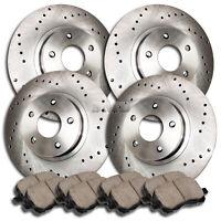 A0097 FIT 2004 2005 2006 Lexus ES330 CROSS DRILLED Brake Rotors Ceramic Pads F+R