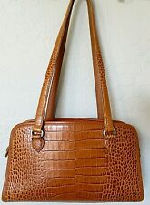 Vintage Brighton Shoulder Bag Brown Embossed Leather Tote Handbag