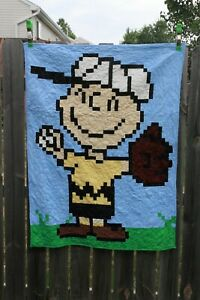 Peanuts Charlie Brown Lap Quilt 43 x 54 NEW Baseball Snoopy