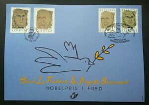 Belgium Sweden Joint Issue Nobel Prize Winners 1999 Bird Dove (joint FDC) *Rare