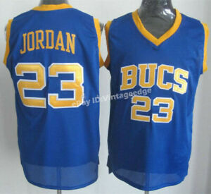 Throwback Jordan #23 Laney High school Bucs Jerseys Yellow White Blue