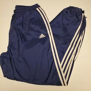 Vintage Adidas Size Large Nylon Swishy Track Pant Navy 1/4 Zip 90s With Liner