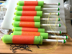 """Catfish Noodle Fishing Jugs---- Orange / Lime green lot of---- 6---- """"Weighted"""""""